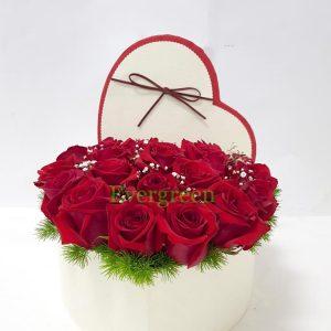 Aranžmani u kutiji – Flower Box – 003 Ruže u kutiji u obliku srca