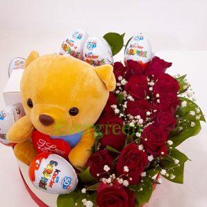Aranžmani u kutiji – Flower Box – 007 Ruže u kutiji sa medom i cokoladicama