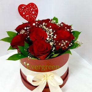 Aranžmani u kutiji – Flower Box – 009 Crvene ruže u kutiji