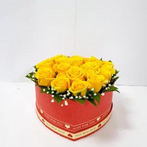 Aranžmani u kutiji – Flower Box – 012 Žute ruže u kutiji