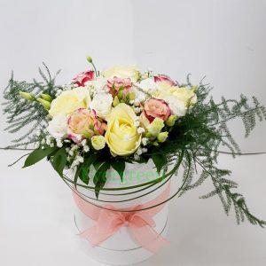 Aranžmani u kutiji – Flower Box – 017 Ruže pastelnih boja