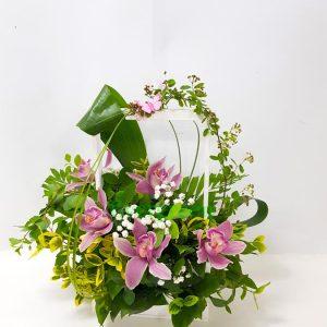 Aranžmani za rođenja – 002 – orhideje u korpi