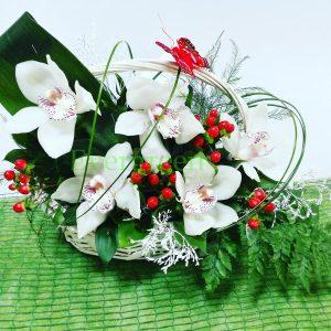 Aranžmani za rođenja – 004 – orhideje u korpi